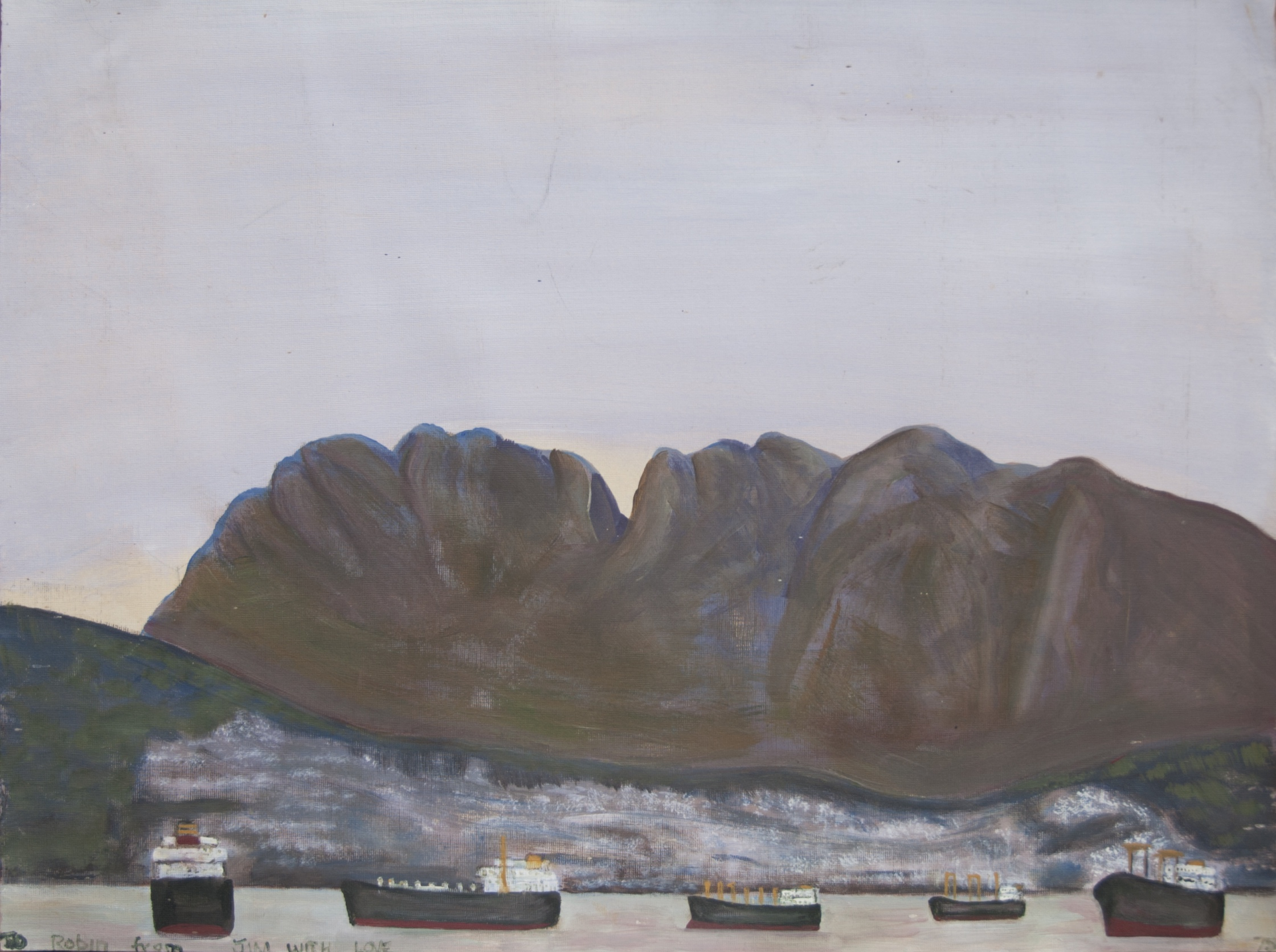 A painting by the artist James Foort called: Mountains And Ships